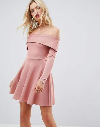 Bardot ASOS DESIGN ASOS PREMIUM Heavy Rib Skater Dress