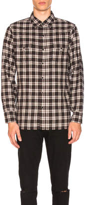 Saint Laurent Plaid Western Shirt with Cut Hem