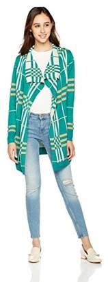 True Angel Women's Long-Sleeve Jacquard Checkered Wrap Cardigan M