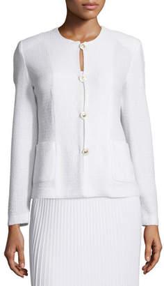 Misook Button-Front Textured Jacket, Petite