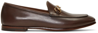 Gucci Brown Jordaan Loafers $695 thestylecure.com