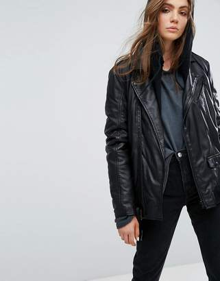 Goosecraft Long Line Leather Biker Jacket