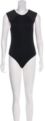 Alice + Olivia Leather-Accented Sleeveless Bodysuit