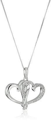 10k White Gold and Diamond Double Heart Pendant Necklace (1/8 cttw I-J Color