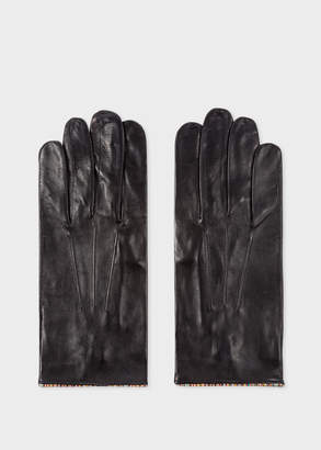 Paul Smith Men's Black Leather Gloves With 'Signature Stripe' Piping