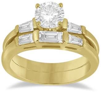 Allurez Diamond Baguette Engagement Ring and Wedding Band Matching Bridal Set 18K Yellow Gold 0.60cw