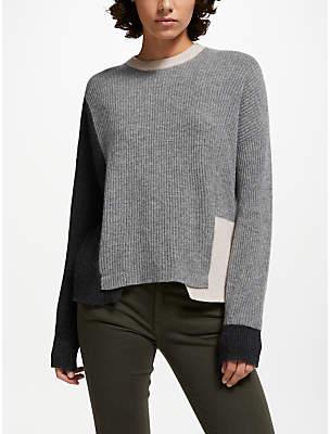 360 Sweater Akima Ribbed Jumper, Graphite/Heather Grey/Buff
