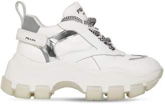 Prada 75mm Nylon & Leather Platform Sneakers