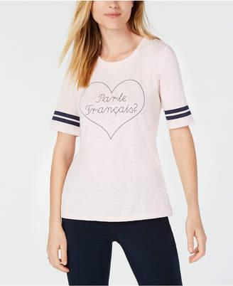 Maison Jules Varsity-Stripe Heart-Print T-Shirt, Created for Macy's