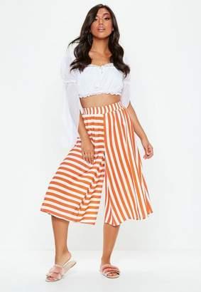 Missguided Orange Contrast Stripe Culotte Trousers, Orange