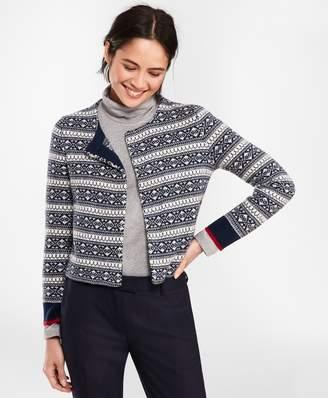 Brooks Brothers Fair Isle Stretch Wool Knit Jacket