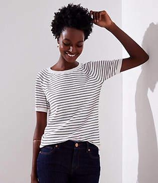LOFT Petite Striped Sweater Tee