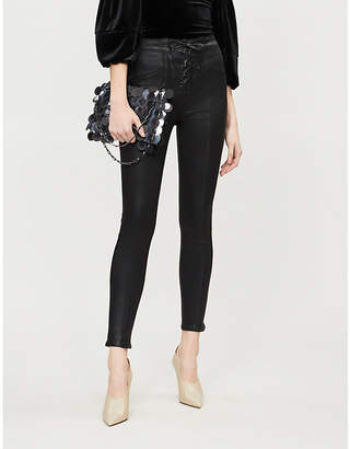 Good American Good Waist Waxed lace-up high-rise skinny jeans