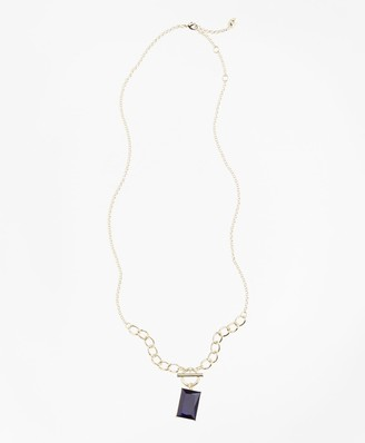 Brooks Brothers Square Stone Pendant Necklace