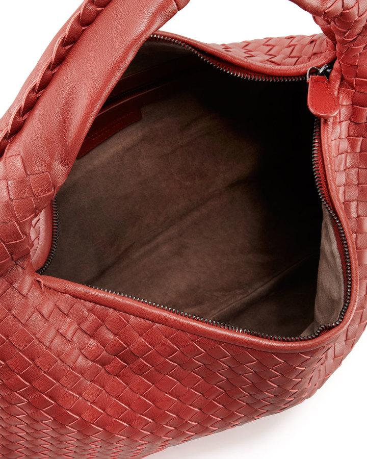 Bottega Veneta Intrecciato Woven Hobo Bag, Dark Red