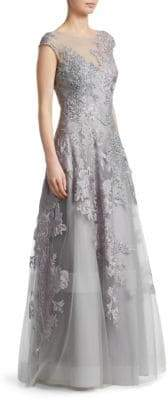 Teri Jon by Rickie Freeman Bead Lace Applique Gown