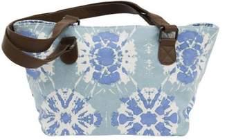 Ashton & Willow Aqua Blue Bohemian Handbags Sierra Mini Tote Cotton Distressed Appearance Pewter Hardware Canvas Tie Dye Tote