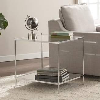 Latitude Run Busey Bottom Shelf Glam Mirrored End Table