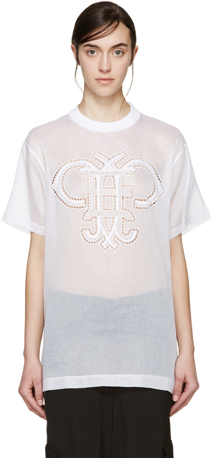 Emilio Pucci White Organza Logo T-Shirt