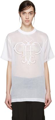 Emilio Pucci White Organza Logo T-Shirt $760 thestylecure.com