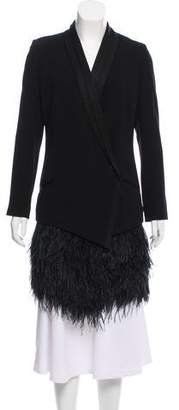 Haute Hippie Feather-Accented Shawl-Lapel Blazer