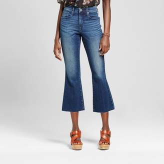 Mossimo Women's High-rise Flare Crop with Raw Hem Dark Wash - Mossimo $29.99 thestylecure.com