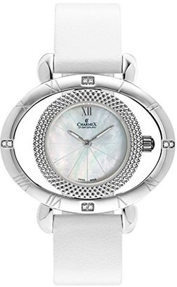 Charmex FLORENCE 6195 43 x 32.5 mmステンレススチールケースホワイトカーフスキンSynthetic Sapphire Women 's Watch