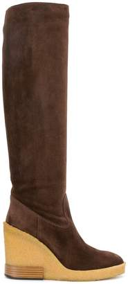 Tod's knee length wedge boots