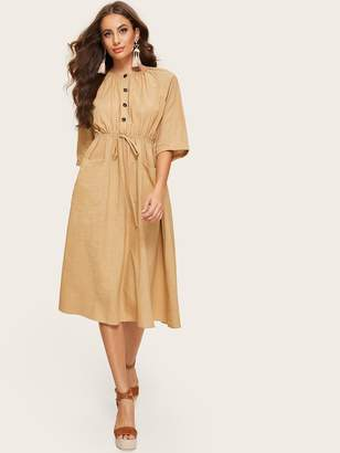 Shein Gathered Neck Button Front Pocket Drawstring Dress