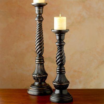 Carved Mango Wood Candleholder