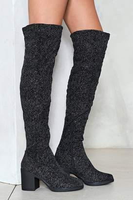 Nasty Gal Side Kick Glitter Over-the-Knee Boot
