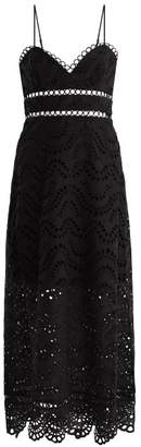 Zimmermann - Jaya Wave Cotton Midi Dress - Womens - Black