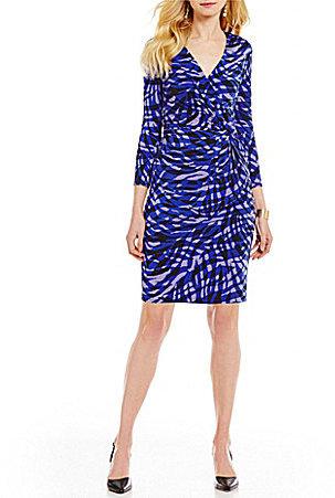 Anne KleinAnne Klein Printed Faux Wrap Matte Jersey Surplice V-Neck Dress