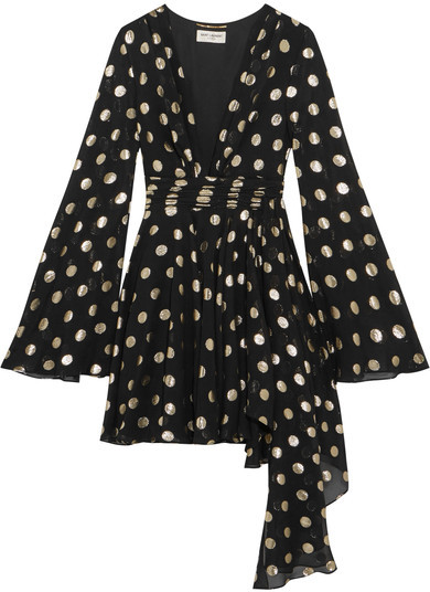 Saint Laurent Saint Laurent - Asymmetric Polka-dot Fil Coupé Silk-blend Georgette Wrap Mini Dress - Black