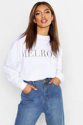 boohoo Melrose Embroidered Sweat