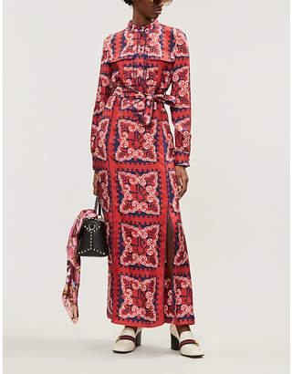 Valentino Bandana-print silk-twill maxi dress