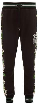 Orchid Print Cotton Jersey Track Pants - Mens - Black Multi