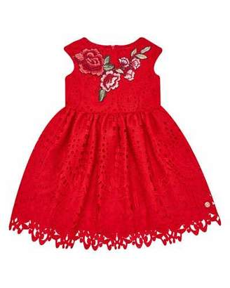 Carrera Pili Cap-Sleeve Lace Dress w/ Flower Applique, Size 4-10