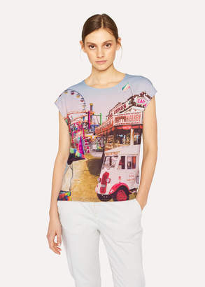 Paul Smith Women's Grey Sleeveless T-Shirt With 'Fairground' Print