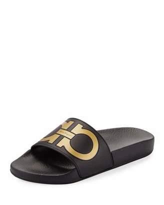 Salvatore Ferragamo Groove Gancini Flat Slide Sandal, Nero/Oro $195 thestylecure.com