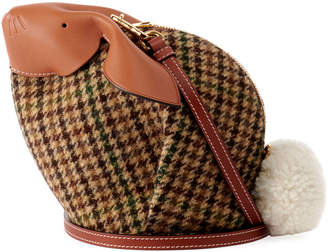 Loewe Bunny Tweed Mini Crossbody Bag, Green Pattern