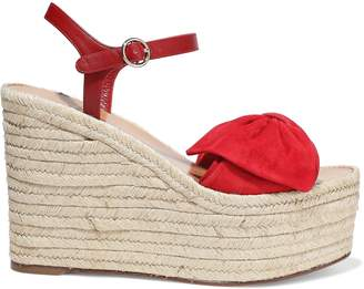 Valentino Garavani Knotted Suede And Leather Wedge Espadrille Sandals