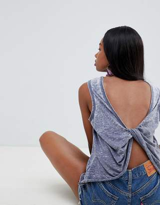 Asos DESIGN sleeveless top with twist back in washed gray