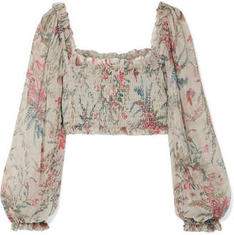 Zimmermann Bayou Shirred Floral-print Silk-crepon Top - Light gray