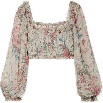 Zimmermann Bayou Shirred Floral-print Silk-crepon Top - Light gray