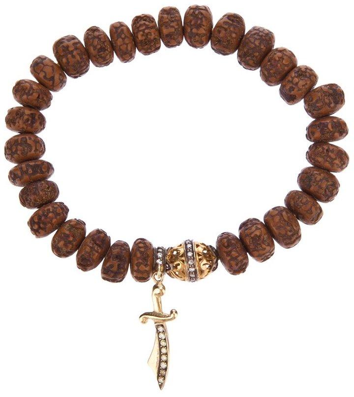 Loree Rodkin carved wood beaded diamond bracelet