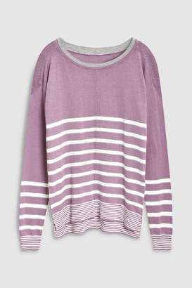 Next Womens Teal Stripe Crew Neck Sweater