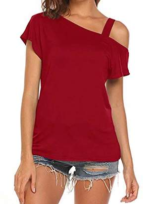 Soft Surroundings Cyanstyle Flattering Tops for Women Female Short Sleeve Round Collar Long Tunic Vintage Comfort Soft Fabric Pull Over Women's Round Hem Clothing Burgundy Wine S
