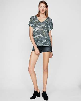 Express One Eleven Camo V-Neck London Top