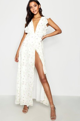 boohoo Floral Frill Detail Wrap Maxi Dress
